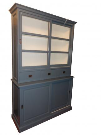 160cm brede grijze buffetkast binnenkant wit
