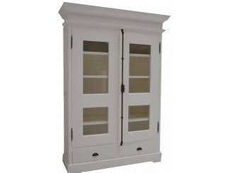 Witte kabinetskast 130cm glasdeuren espagnolet
