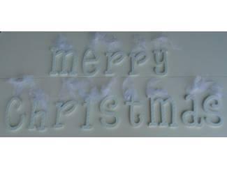 MERRY CHRISTMAS HOUTEN LETTERS WIT- GROEN Nieuw