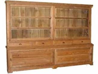 Grote 300cm brede landelijke teak woonkamerkast met schuifdeuren