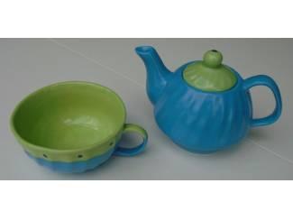 TEA FOR ONE SET BLAUW GROEN Nieuw