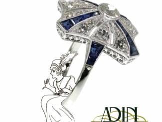 Art Deco verlovingsring met blauw saffier