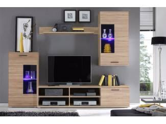 ACTIE compleet eiken tv-wandmeubel met blauwe LED NU 229,- NIEUW