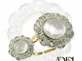 Vintage trouwring met oogverblindend mooie maansteen.