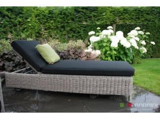 Loungeset lounche ligbed tuin terras rond grijs wicker nieuw.