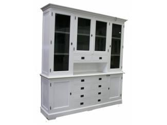 Witte kast grijze binnenkant en open vak 220cm