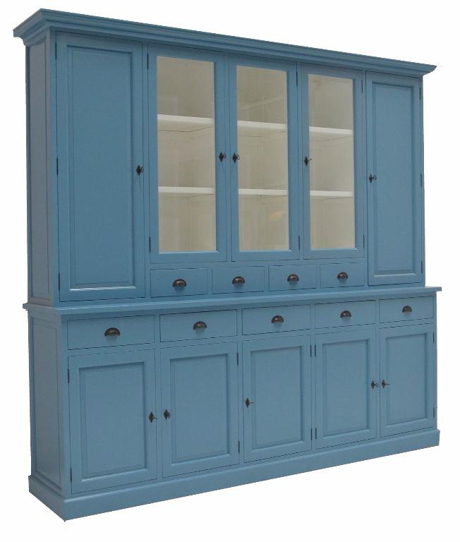 Buffetkast Lelystad oud blauw - wit 280 x 50/40 x 235cm
