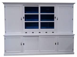 Buffetkast Gieten XL wit - blauw 300 x 50/40 x 230cm