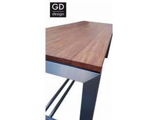 Exclusieve maatwerk RVS design bartafels met bamboo blad