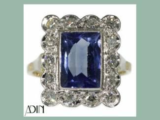 Vintage trouwring met saffier en diamanten