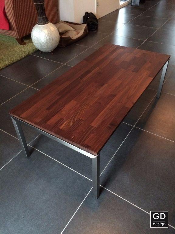Zeer mooie maatwerk RVS salontafel met Acacia hout!   Tafels