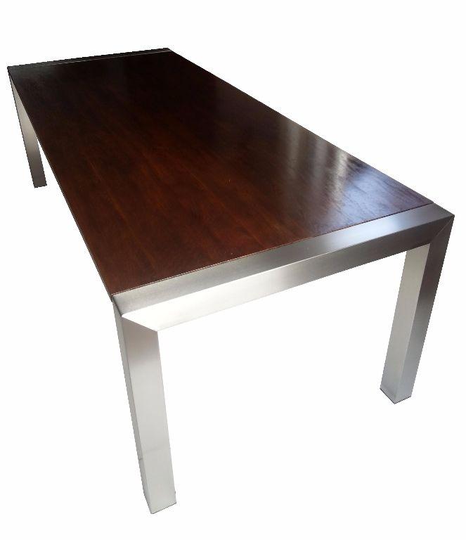 Prachtige rvs design eettafel met donker eiken tafelblad for Eiken design tafel