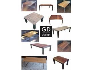 Maatwerk RVS design salontafels met luxe houtsoorten
