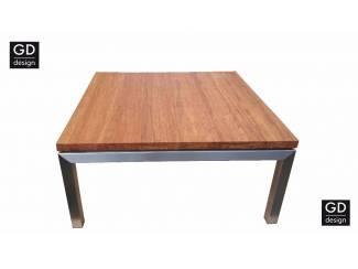 Maatwerk salontafel roestvast staal met massief bamboo blad