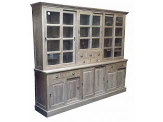 300cm brede teak hout apothekerskast met laden en schuifdeuren