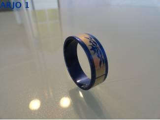 stainless steel ringen blauw nr 62-GEEN VERZENDKOSTEN.