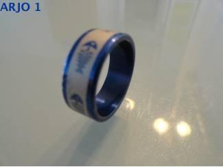 Rvs stainless steel ringen blauw nr 43-GEEN VERZENDKOSTEN.