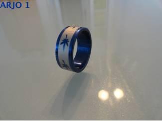 Rvs stainless steel ringen blauw nr 44-GEEN VERZENDKOSTEN.