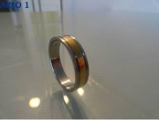 Stainless-Steel ring maat 22 bicolor, Nr 67 -GEEN VERZENDKOSTEN.