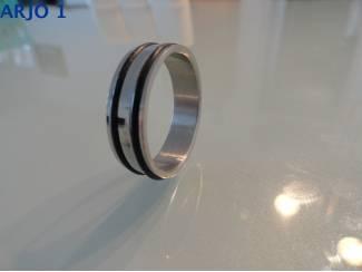 Ringen Ring ingelegd rubber maat 22, Nr 85 -GEEN VERZENDKOSTEN.