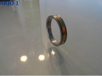 Ringen Stainless-steel ring maat 19 bicolor, Nr 72-GEEN VERZENDKOSTEN