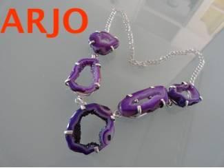 Paars edelsteen halsketting, Is verzilvert Nr 325-GEEN VERZENDKOS
