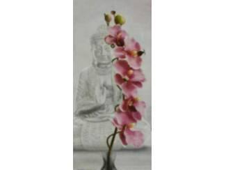 Schilderij Orchidee Witte Boedha Boeddha Buddha Budha Buda