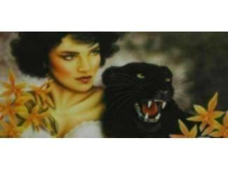 Vrouw met Zwarte Panter Schilderij (Cc)