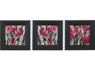 3 Luik Schilderij Tulpen Grijs Roze Tulp Bloem Bloemen
