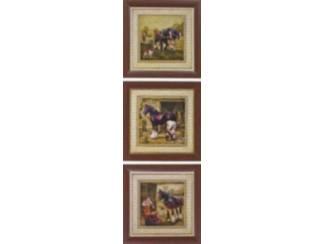 Drieluik Schilderij Paard, Paarden op Boerderij