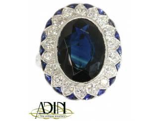 Prachtige antieke Diana verlovingsring met saffier