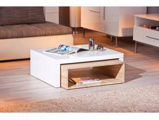 ACTIE Moderne vierkante eiken hoogglans witte salontafel Zola