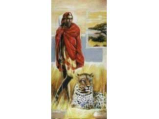 Afrika schilderij vrouw met leeuw man met panter accessoires en decoratie - Decoratie schilderij gang ...