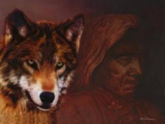 Indiaan met Wolf Poster
