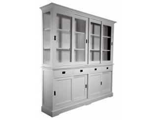 Witte apothekerskast met laden en schuifdeuren 220cm breed