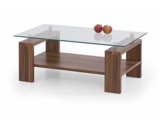 AANBIEDING Moderne salontafel met glas kleur Walnoot NIEUW