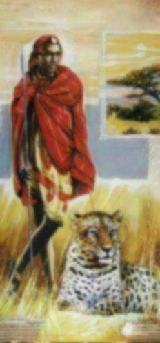 Schilderij afrika vrouw met leeuw man met panter accessoires en decoratie - Decoratie schilderij gang ...