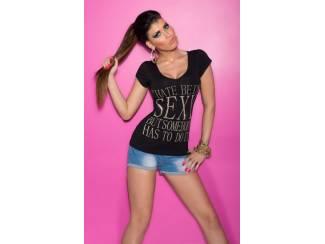 T-Shirt met Tekst Zwart - S/M