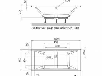 Sanitair en Tegels Sanifun Allibert Spacy Duo inbouw ligbad 180 x 80 x 44.