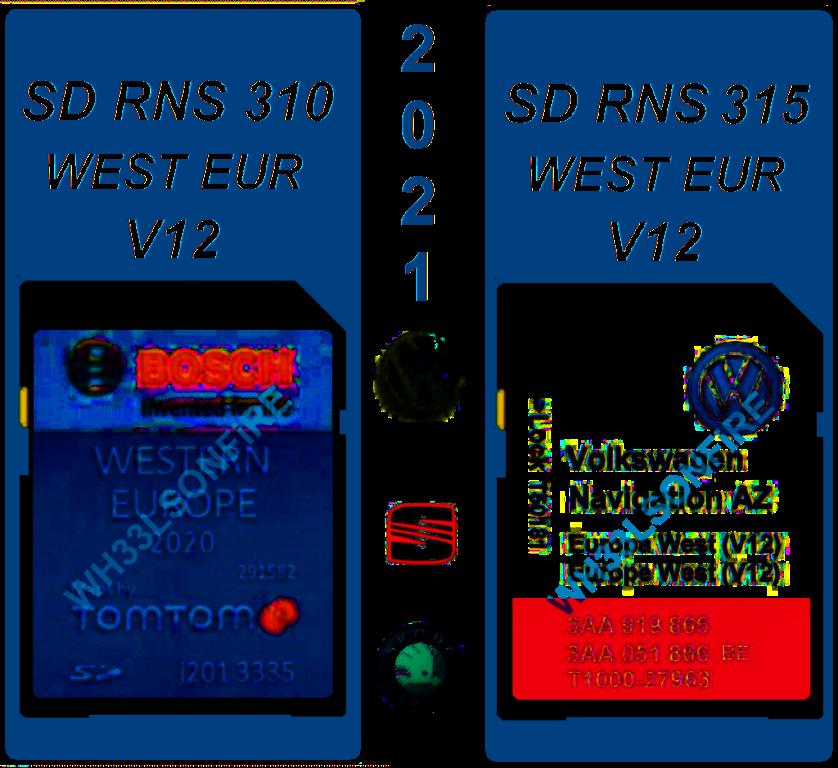 SD Volkswagen RNS 310 V12 / 315 V12 sd kaart 2021