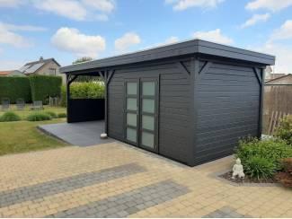 Tuinhuis-Blokhut Parelhoen 400x300cm met Luifel 400cm