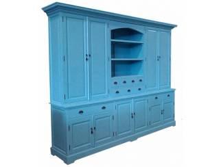 Buffetkast Driel turquoise 300 x 50/40 x 230cm dichte deuren