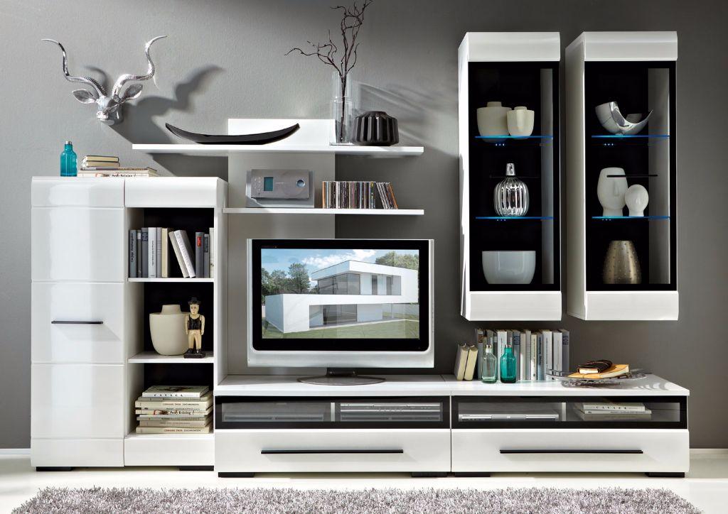 ACTIE Compleet tv-wandmeubel eiken of hoogglans wit NIEUW : Kasten en ...