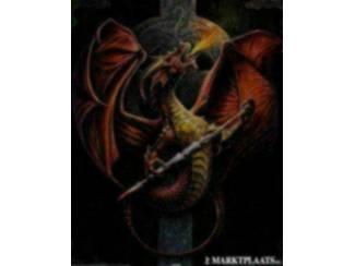 Poster Draak met Celtic Kruis