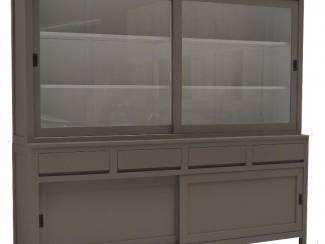 Winkelkast taupe - wit 240 x 215cm greeploos