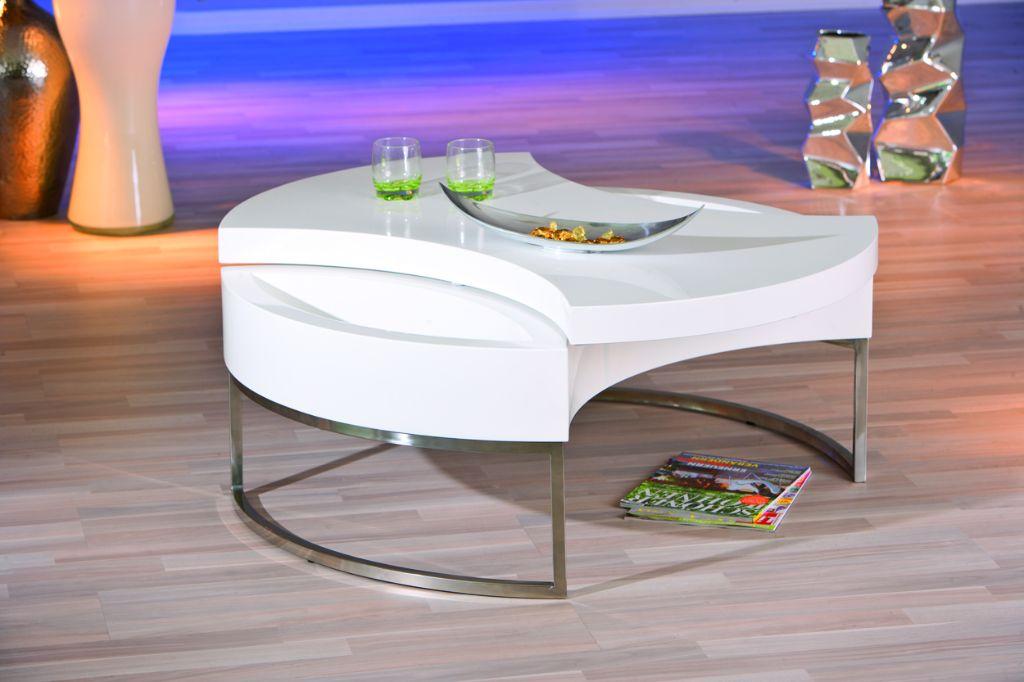 Moderne hoogglans witte draaibare salontafel NU 299 NIEUW