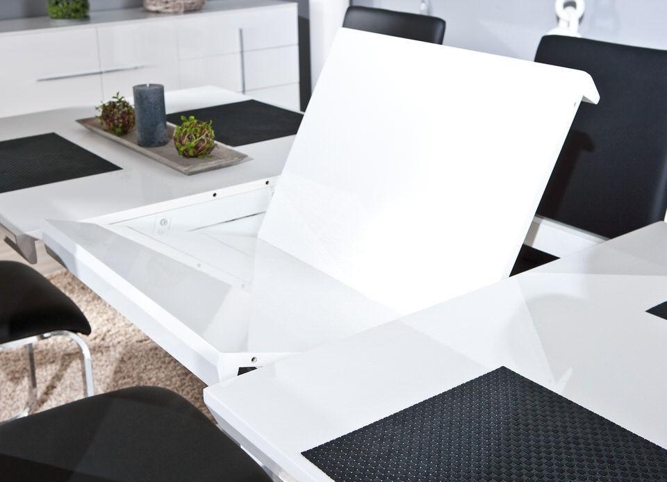 Moderne hoogglans witte uitschuifbare eettafel Edmonton NIEUW   Tafels