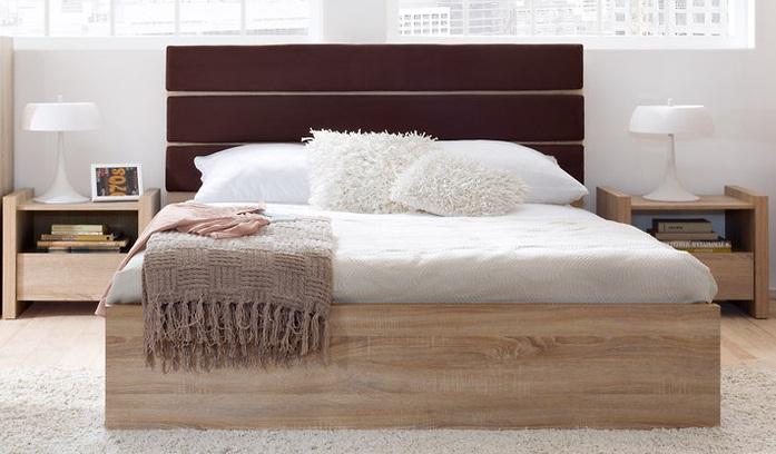 Actie modern eiken tweepersoonsbed met bruin hoofdbord nieuw slaapkamer - Modern hoofdbord ...