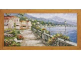 landschap Schilderij , bergen, zee, dorpje
