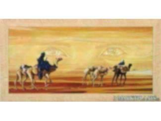 Schilderij Karavaan Arabisch Vrouw, Man, Ogen,Woestijn Oase
